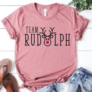Rudolph Christmas Short Sleeved Crewneck Tshirt